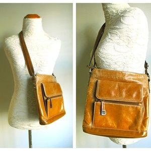 Distressed Brown Leather Crossbody Messenger Bag